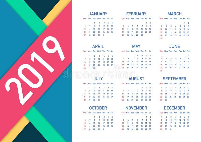 Calendar 2019, неделя начинает от воскресенья, шаблона дела Editable файл вектора доступный Английский язык и воскресенье к верси иллюстрация штока