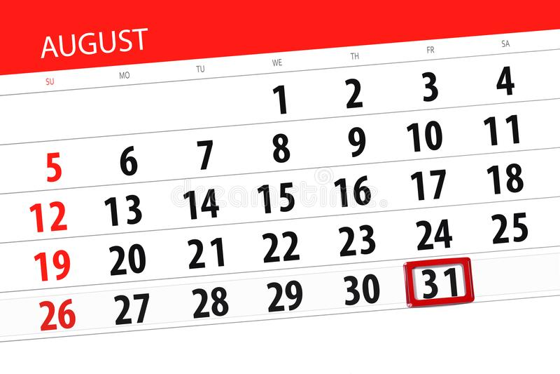 Calendar плановик на месяц, день крайнего срока недели, 2018 31-ое августа, пятница стоковые фотографии rf