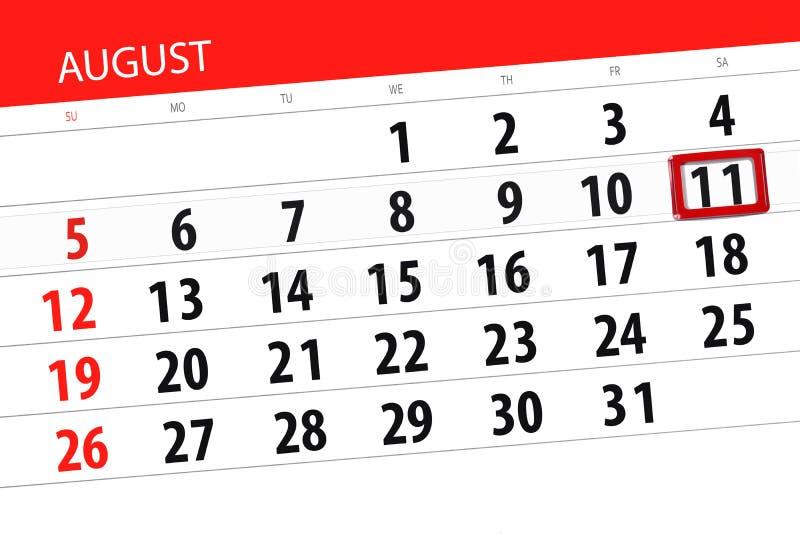Calendar плановик на месяц, день крайнего срока недели, 2018 11-ое августа, суббота иллюстрация штока