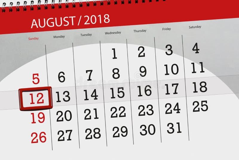 Calendar плановик на месяц, день крайнего срока недели, 2018 12-ое августа, воскресенье иллюстрация штока