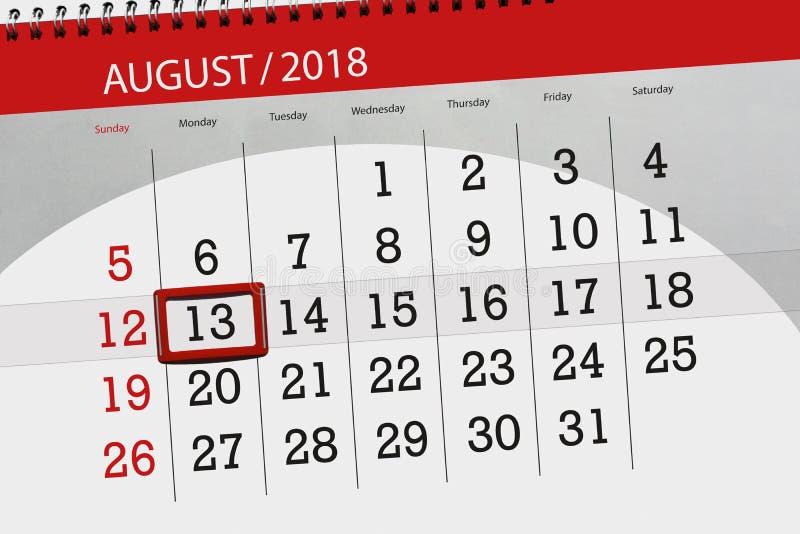 Calendar плановик на месяц, день крайнего срока недели, 2018 13-ое августа, понедельник бесплатная иллюстрация