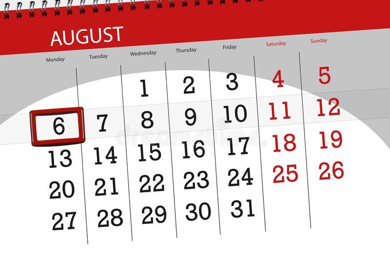 Calendar плановик на месяц, день крайнего срока недели, 2018 6-ое августа, понедельник иллюстрация штока