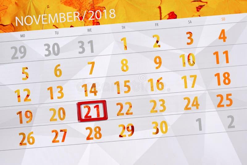 Calendar плановик на месяц, день крайнего срока недели 2018 21-ое ноября, среда стоковые изображения rf
