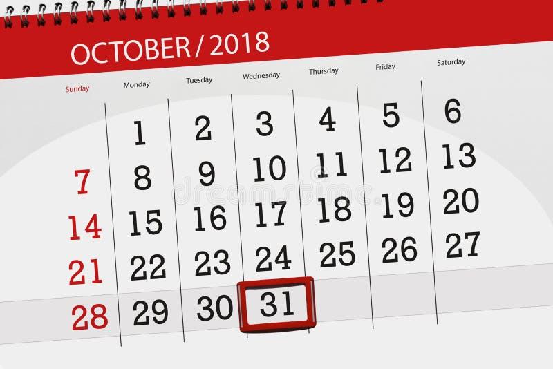Calendar плановик на месяц, день крайнего срока недели 2018 31-ое октября, среда стоковое фото rf