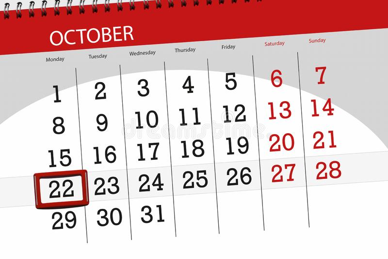 Calendar плановик на месяц, день крайнего срока недели 2018 22-ое октября, понедельник бесплатная иллюстрация