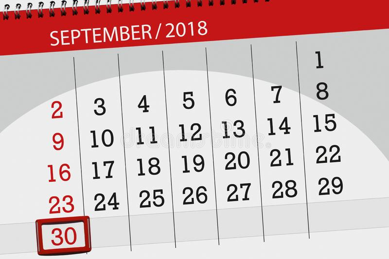 Calendar плановик на месяц, день крайнего срока недели, 2018 30-ое сентября, воскресенье иллюстрация штока