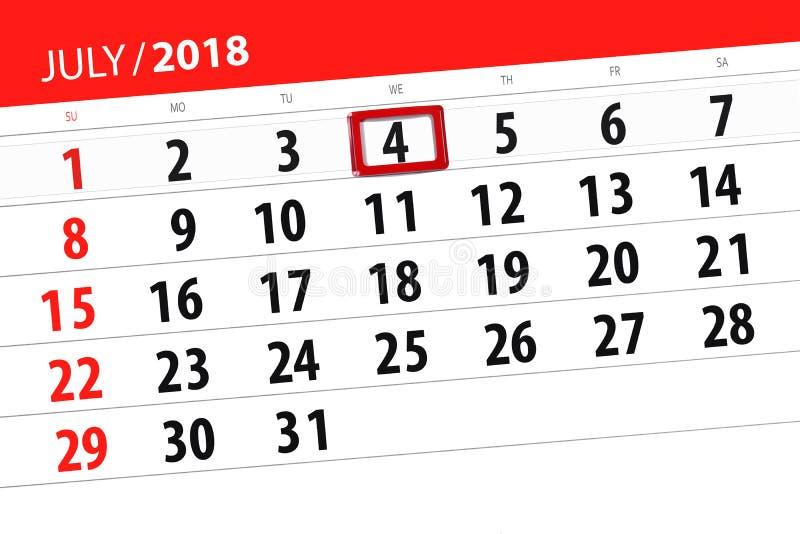 Calendar плановик на месяц, день недели, среда крайнего срока, 2018 4-ое июля, День независимости стоковое изображение