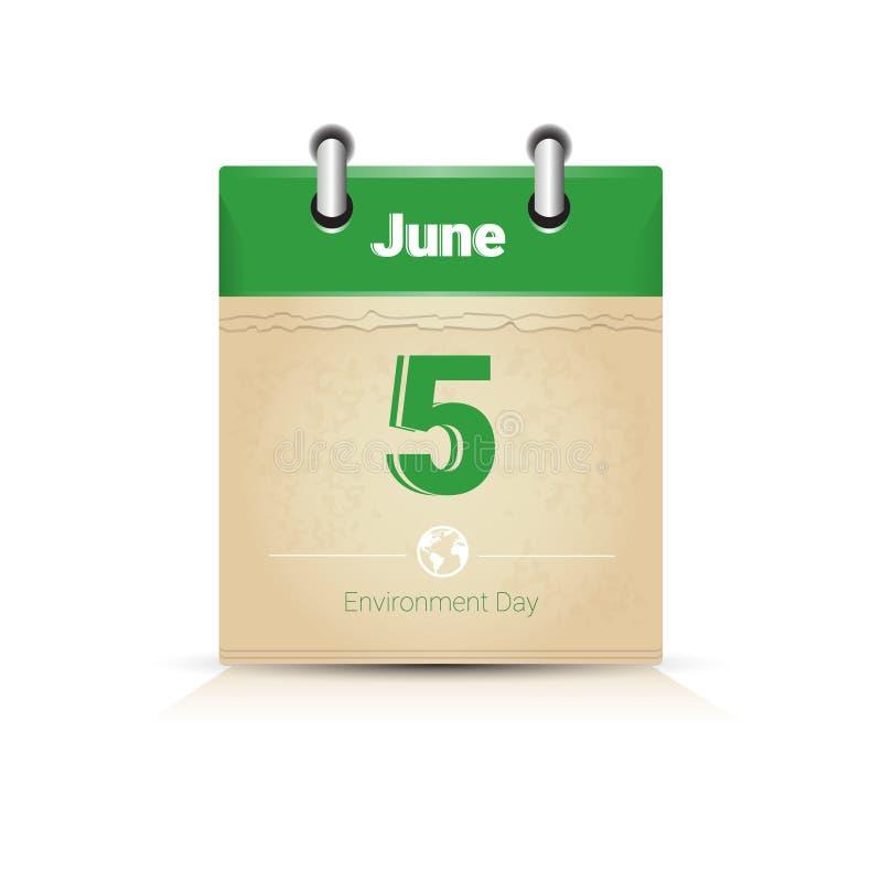 Calendar поздравительная открытка праздника предохранения от экологичности дня мировой окружающей среды 5-ое июня страницы иллюстрация штока