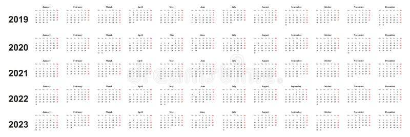 Calendar 2019, 2020, 2021, 2022, 2023, простой дизайн, белая предпосылка, бесплатная иллюстрация