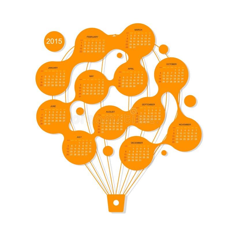 Calendar решетка 2015, воздушный шар для вашего дизайна иллюстрация вектора