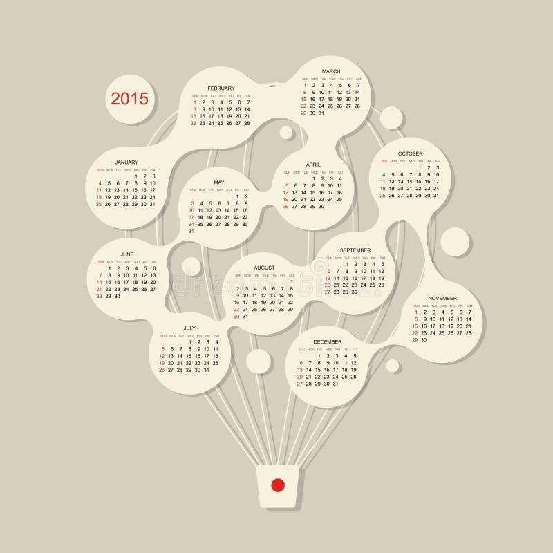 Calendar решетка 2015, воздушный шар для вашего дизайна иллюстрация штока