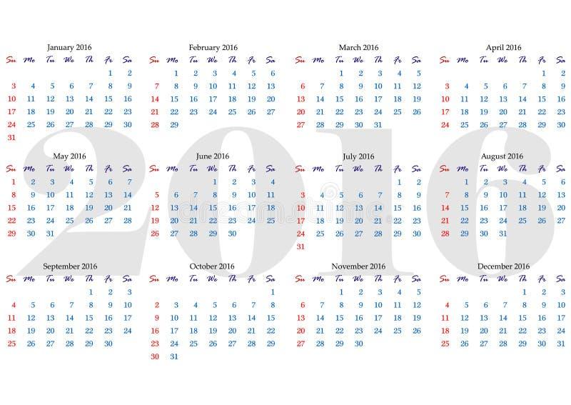 Calendar решетка на 2016 год с маркированными днями выходных бесплатная иллюстрация
