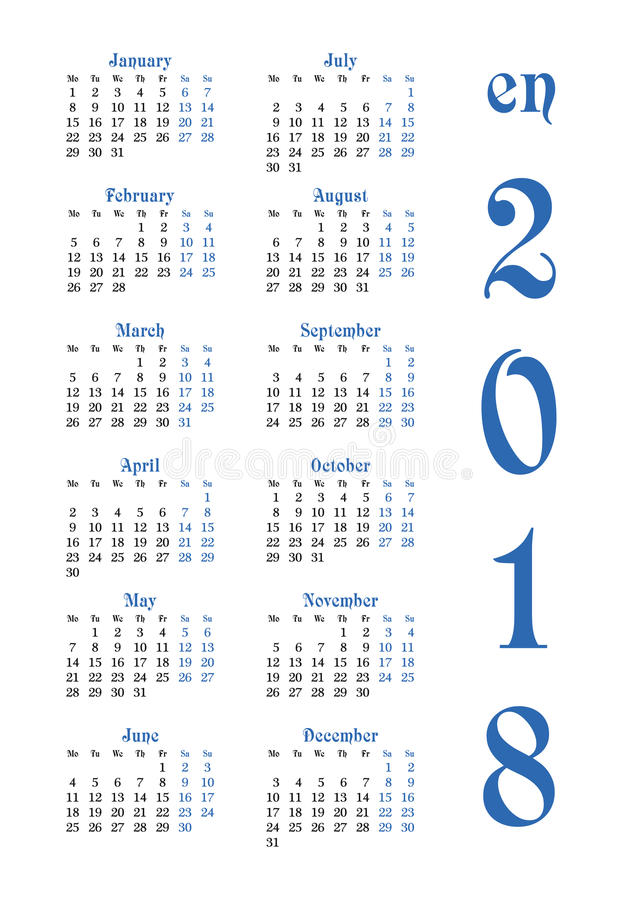 Calendar решетка на 2018 с знаменитыми днями выходных иллюстрация штока