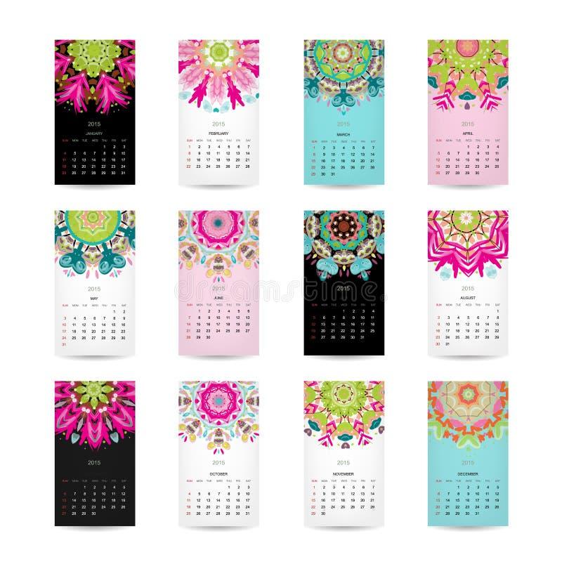 Calendar решетка 2015 для вашего дизайна, флористическая иллюстрация штока
