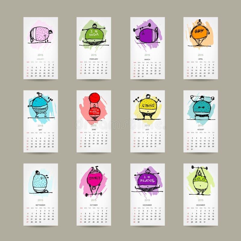 Calendar решетка 2015 для вашего дизайна, люди фитнеса иллюстрация вектора