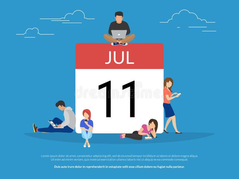 Calendar символ с иллюстрацией вектора концепции людей плоской иллюстрация штока