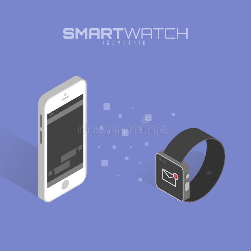 Calendar синхронизация между умным вахтой и умным телефоном иллюстрация вектора