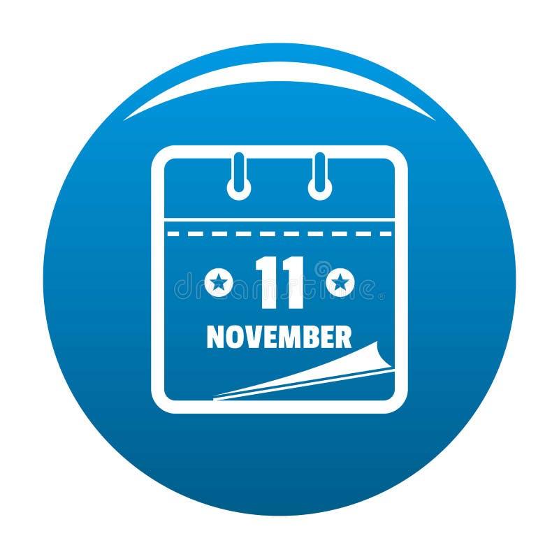 Calendar синь значка одиннадцатом -го в ноябре иллюстрация вектора