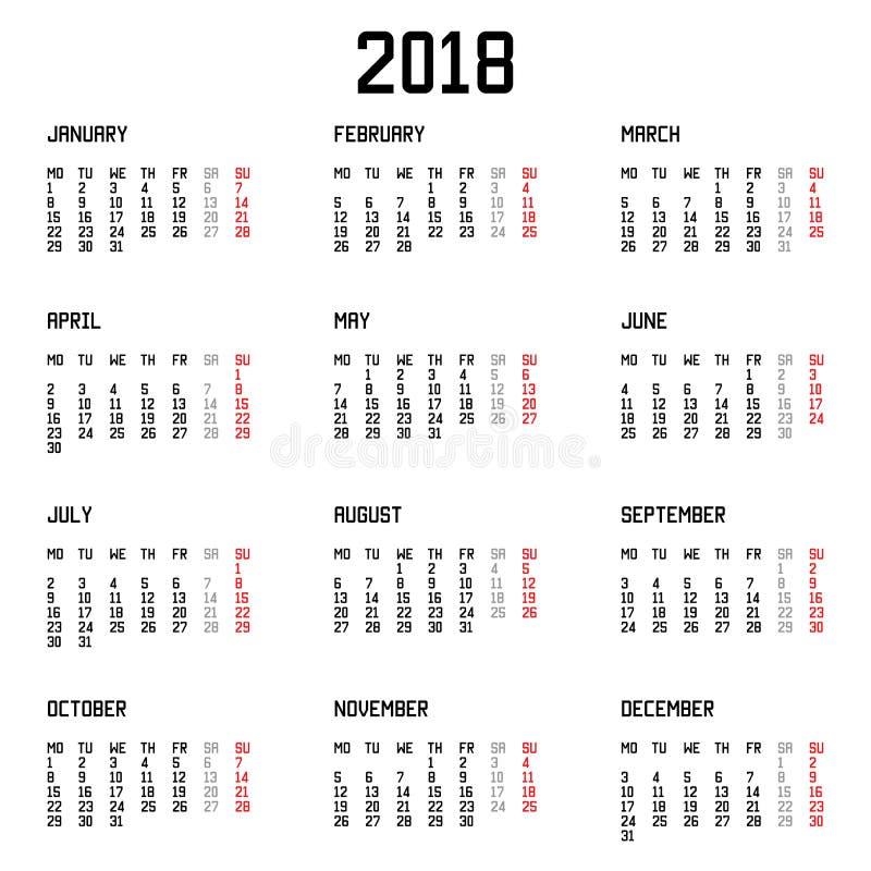 Calendar стиль 2018 год простой на белой предпосылке также вектор иллюстрации притяжки corel иллюстрация вектора