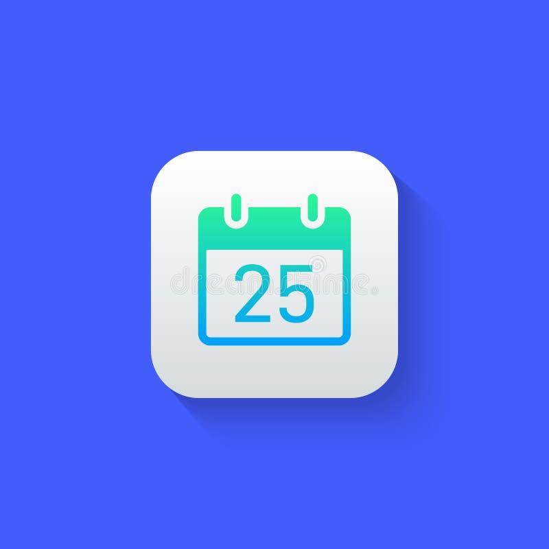 Calendar стиль значка современный футуристический с длинной тенью бесплатная иллюстрация