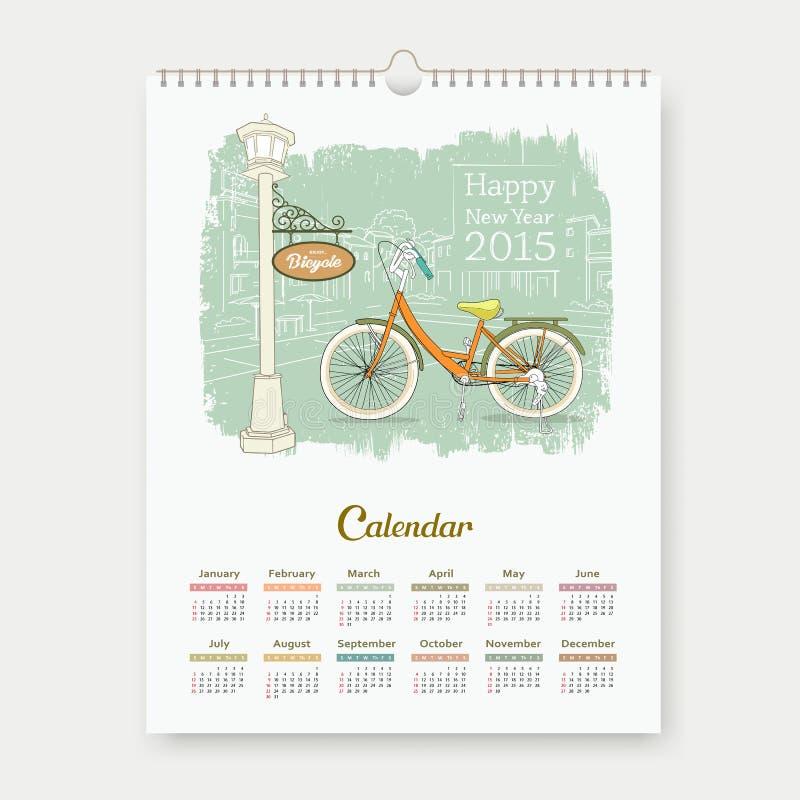 Calendar 2015, счастливый Новый Год насладитесь дизайном велосипеда иллюстрация вектора