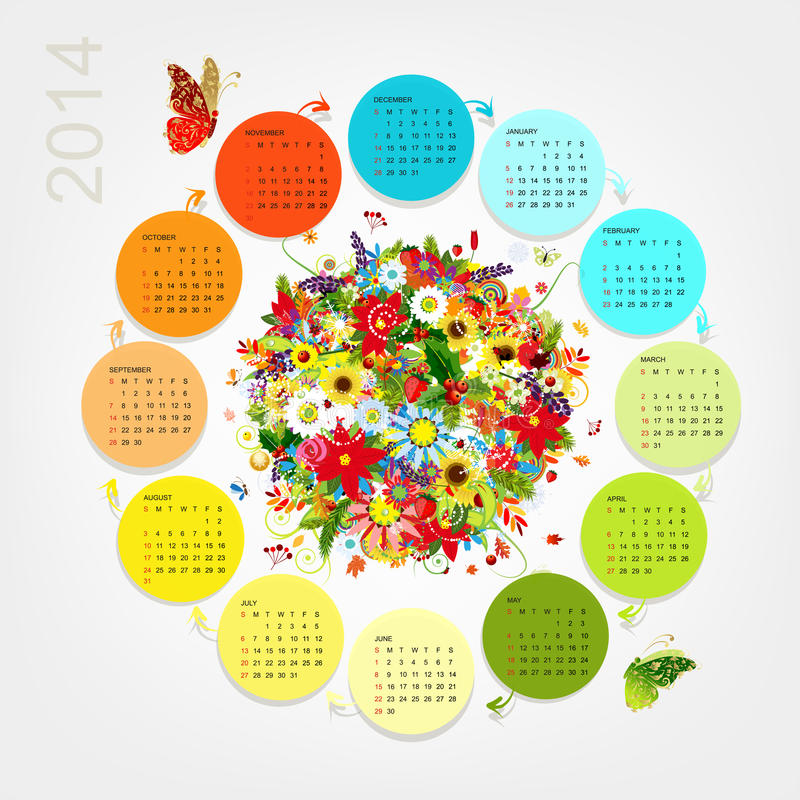 Calendar 2014 с букетом 4 сезонов для вашего иллюстрация штока