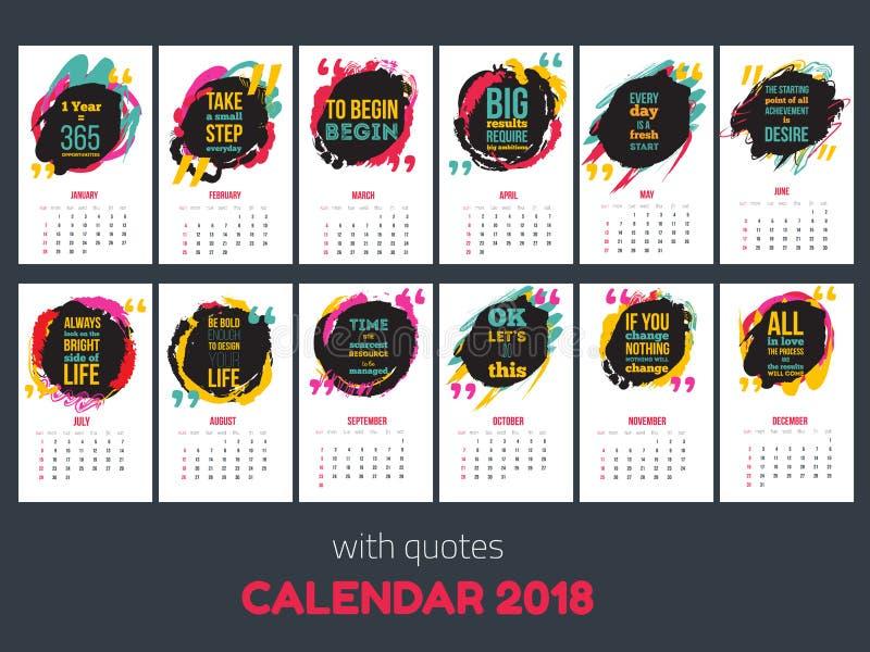Calendar с воодушевляя цитатами 2018, яркий красочный шаблон года иллюстрация штока