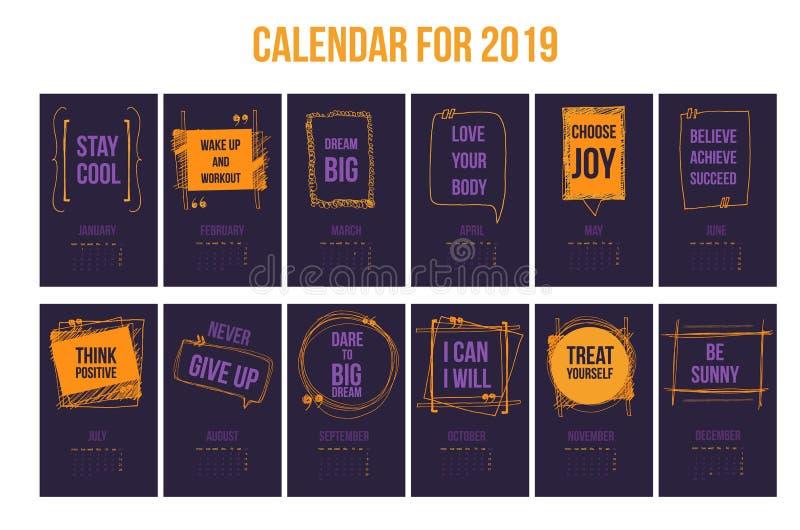 Calendar с воодушевляя цитатами 2019, яркий красочный шаблон года иллюстрация штока