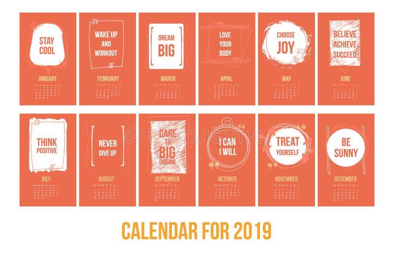 Calendar с воодушевляя цитатами 2019, яркий красочный шаблон года бесплатная иллюстрация