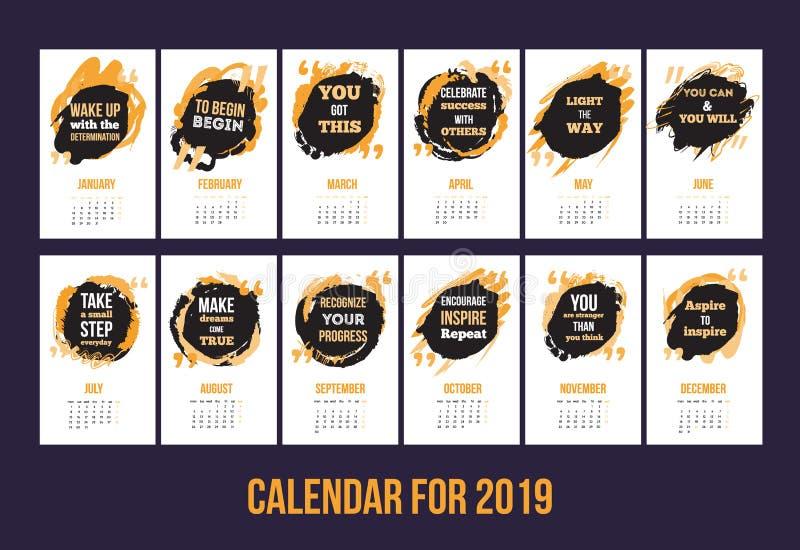 Calendar с воодушевляя цитатами 2019, яркий красочный шаблон года иллюстрация вектора