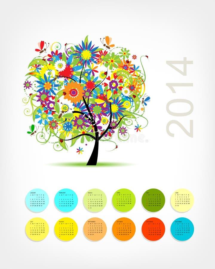 Calendar 2014 с деревом 4 сезонов для вашего бесплатная иллюстрация