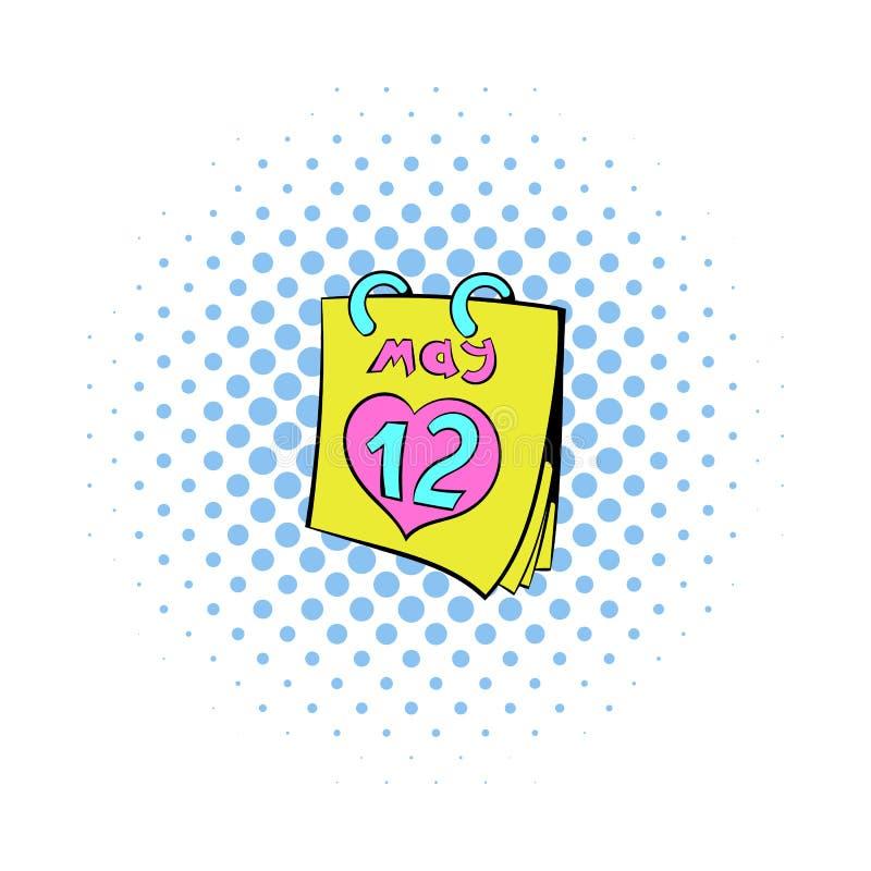 Calendar с значком даты дня матерей, стилем комиксов иллюстрация штока