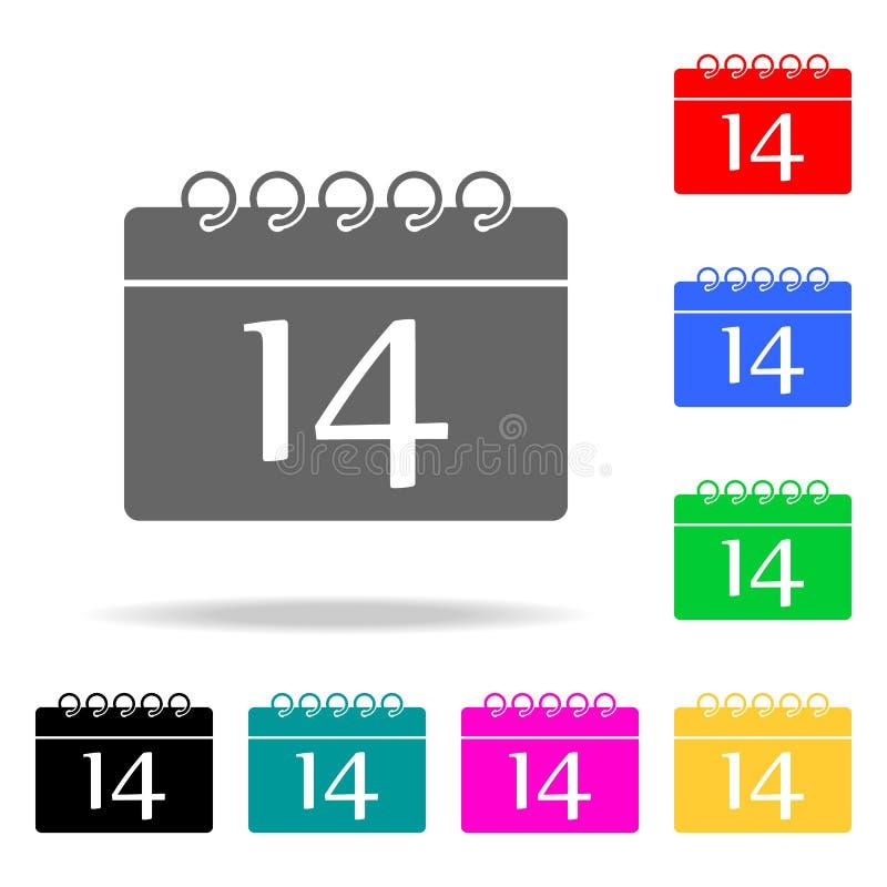 calendar с значком даты 14 Элементы романс в multi покрашенных значках Наградной качественный значок графического дизайна Простой иллюстрация штока