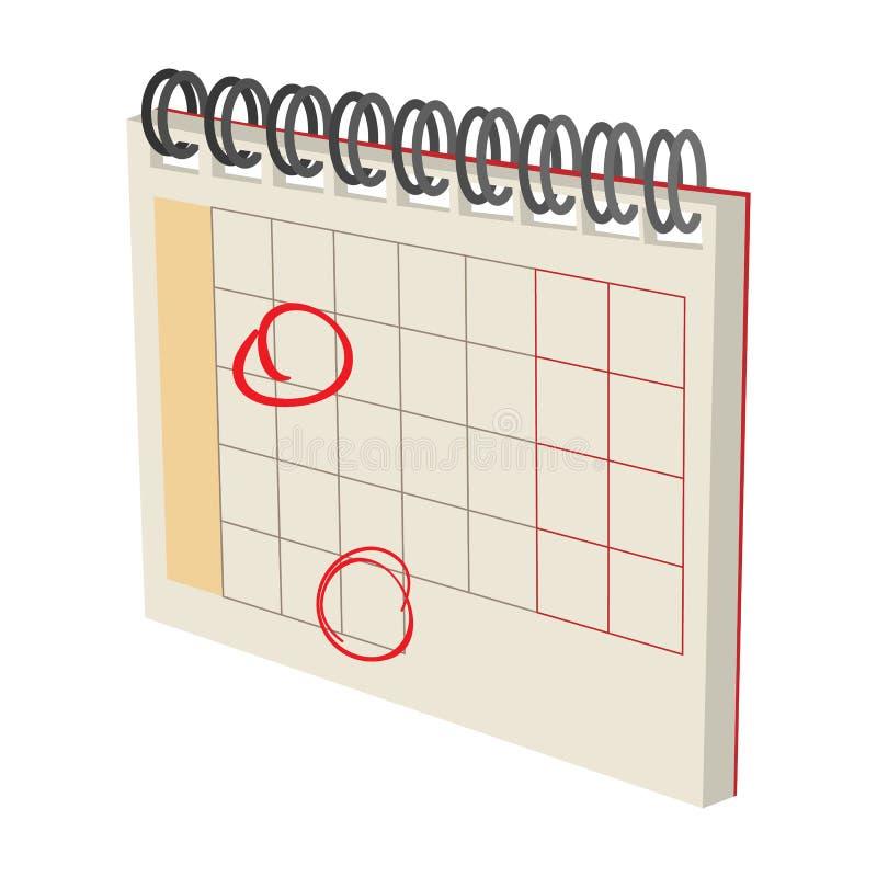 Calendar с значком шаржа меток иллюстрация штока