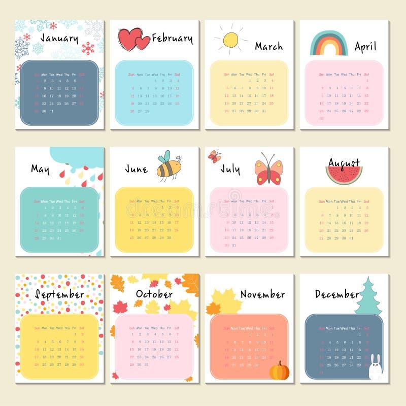 Calendar 2017 с милыми животными, насекомыми и другим иллюстрация штока