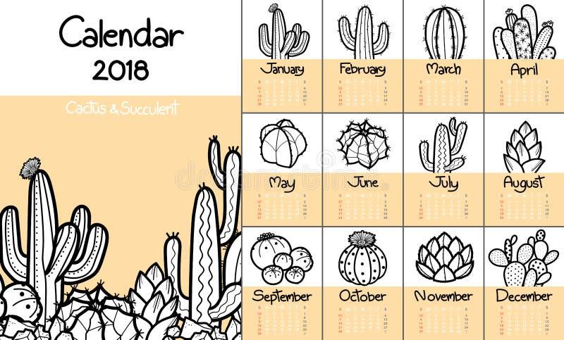 Calendar 2018 с милым кактусом и succulents в черном плане a иллюстрация штока