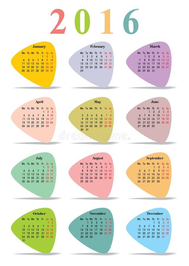 Calendar с пестроткаными месяцами треугольников иллюстрация вектора
