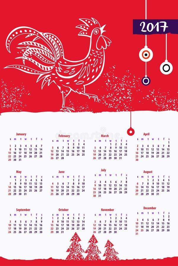 Calendar 2017 с петухом на Новый Год события счастливый Красный цвет стиля иллюстрация вектора