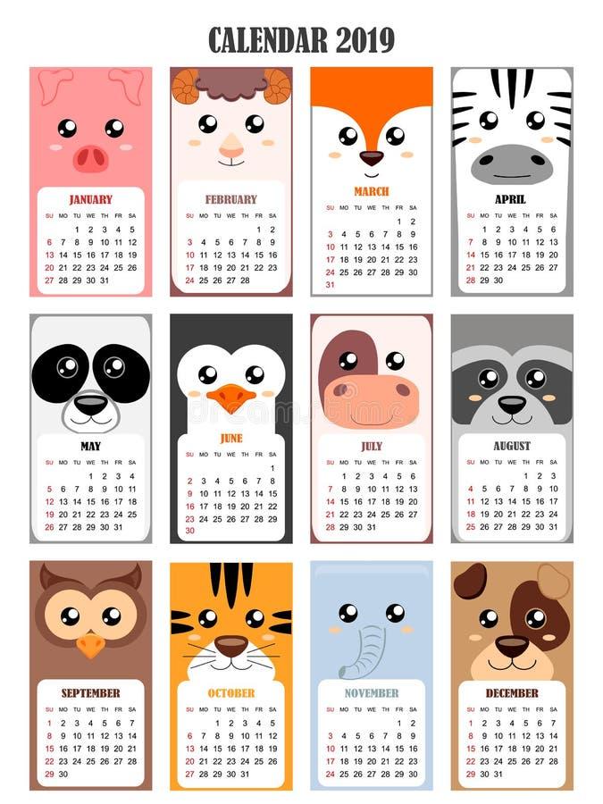 Calendar 2019 с свиньей, овцой, лисой, зеброй, пандой, пингвином, коровой, енотом, сычом, тигром, слоном, собакой иллюстрация штока