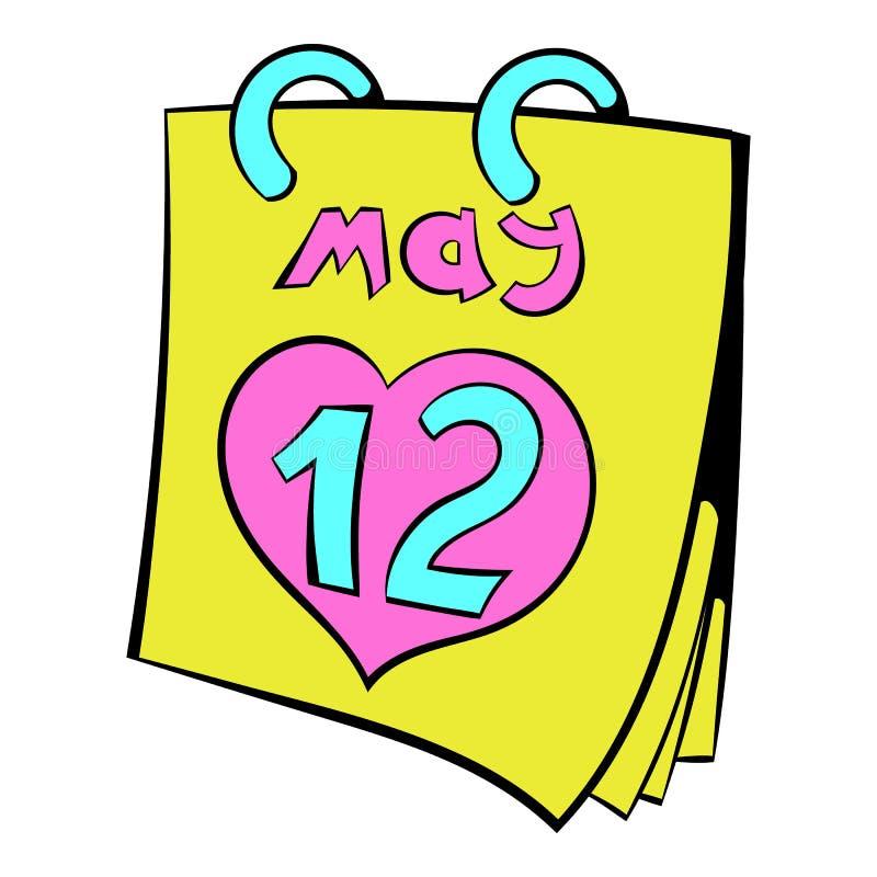 Calendar с шаржем значка даты дня матерей иллюстрация вектора