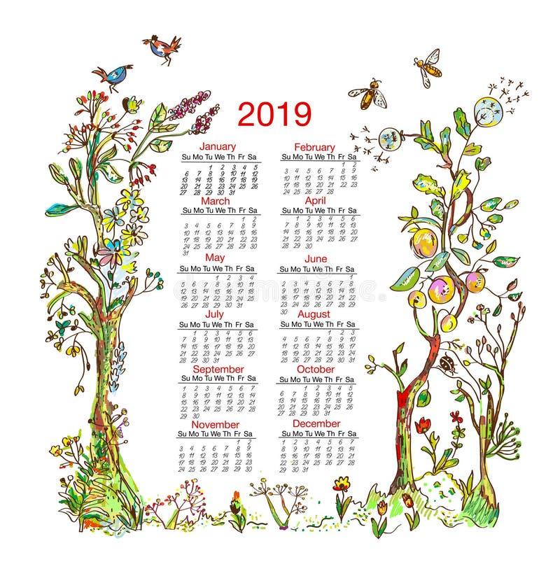 Calendar 2019 с элементами рамки природы - деревьями, цветками, птицами, пчелами также вектор иллюстрации притяжки corel иллюстрация штока