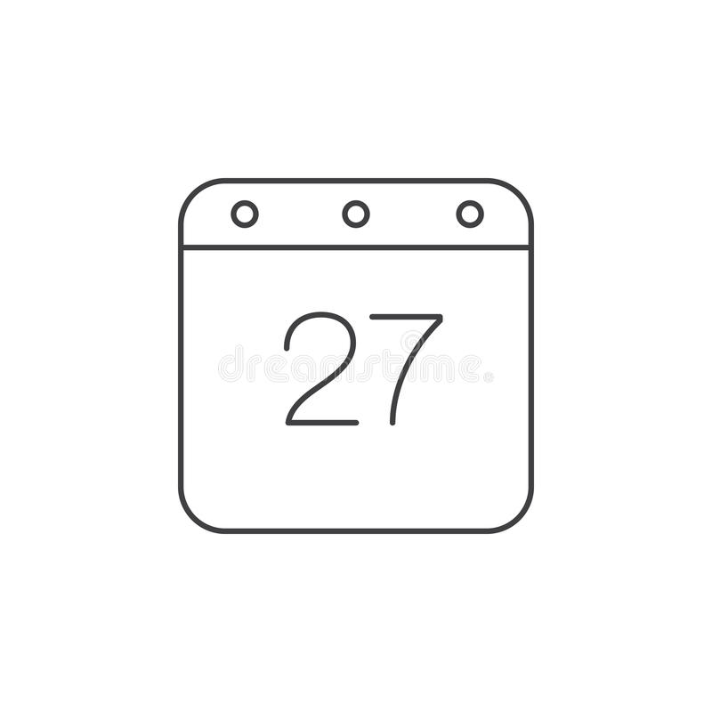 Calendar тонкая линия значок, иллюстрация логотипа вектора плана, linea иллюстрация штока