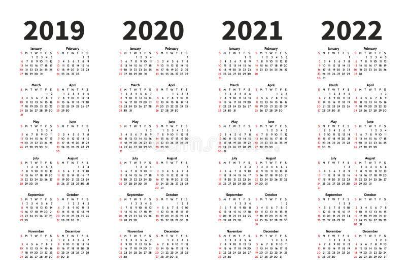 Calendar шаблон дизайна вектора 2019, 2020, 2021 и 2022 год Простой стиль minimalizm Неделя начинает от воскресенья иллюстрация штока