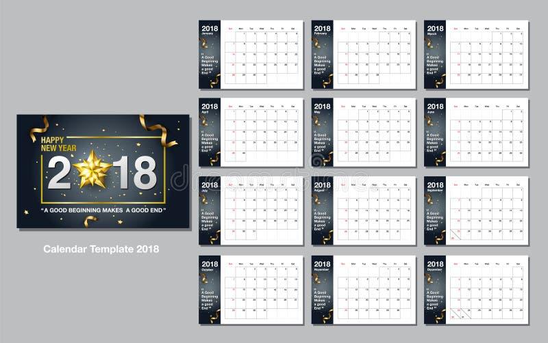Calendar шаблон дизайна, счастливый Новый Год, 2018, иллюстрация вектора иллюстрация штока