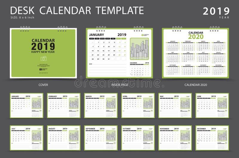 Calendar 2019, шаблон настольного календаря, комплект 12 месяцев, плановик, старты недели в воскресенье, дизайне канцелярских при иллюстрация штока