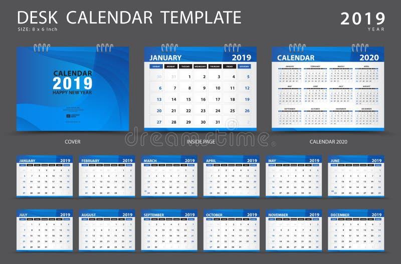 Calendar 2019, шаблон настольного календаря, комплект 12 месяцев, плановик иллюстрация штока