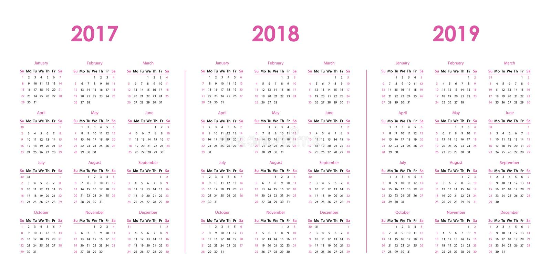 Calendar шаблон на 2017, 2018, 2019 бесплатная иллюстрация