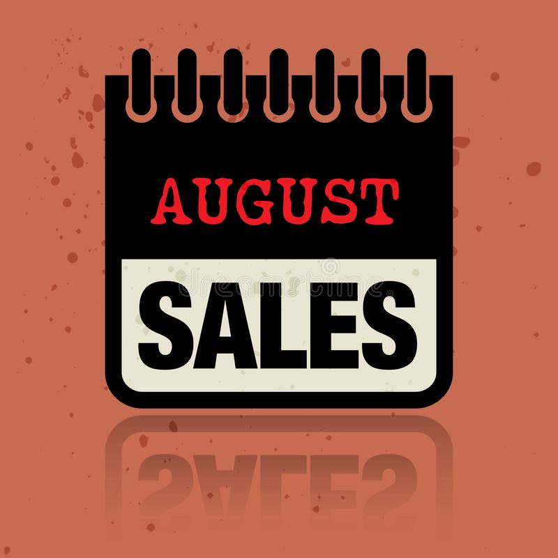 Calendar ярлык при продажи в августе слов написанные внутрь бесплатная иллюстрация