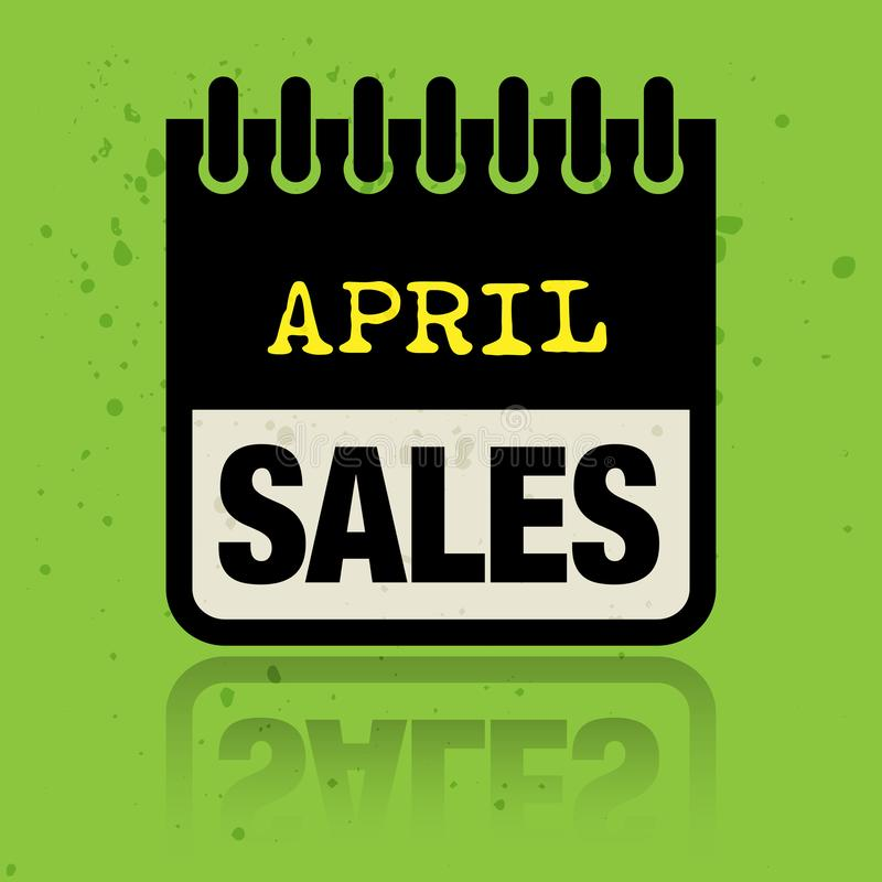Calendar ярлык при продажи в апреле слов написанные внутрь бесплатная иллюстрация