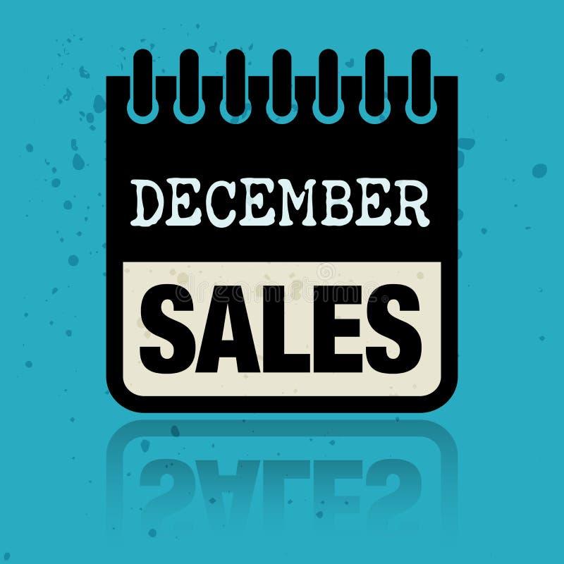 Calendar ярлык при продажи в декабре слов написанные внутрь бесплатная иллюстрация